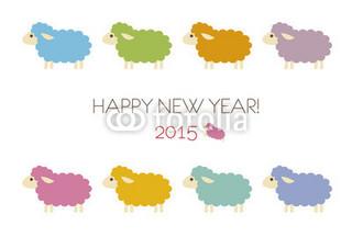 カラフル羊の年賀状イラスト