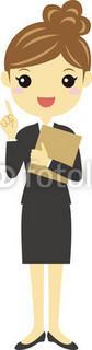 ファイルを持って指差しをする女子社員